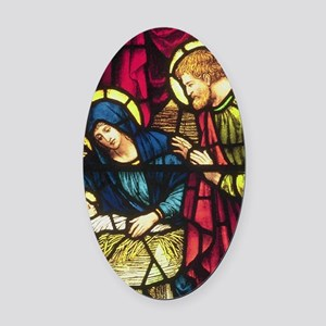 Stained Glass Nativity Oval Car Magnet