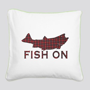 Fish on 2 Square Canvas Pillow
