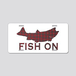 Fish on 2 Aluminum License Plate