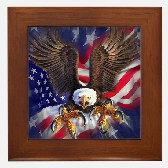 Patriotic Eagle Framed Tile