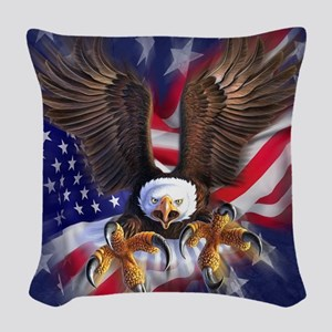 Patriotic Eagle Woven Throw Pillow