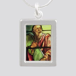 Moses in stained glass Silver Portrait Necklace