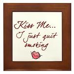 Kiss Me - Quit Smoking (lips) Framed Tile