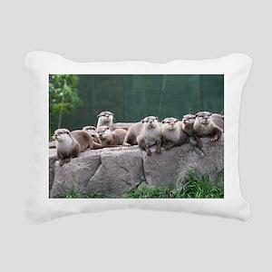 Otter family Rectangular Canvas Pillow