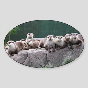Otter family Sticker (Oval)