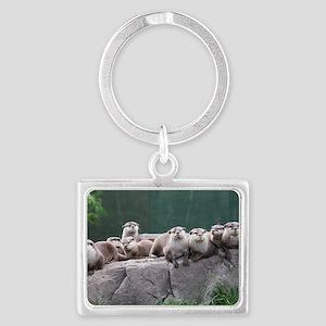 Otter family Landscape Keychain