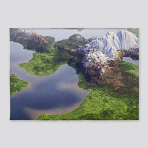 Digital Landscape - Mountains and Lakes 5'x7'Area