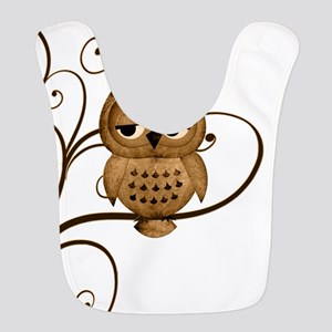 Brown Swirly Tree Owl Bib