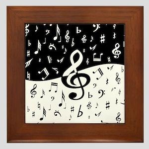 Stylish random musical notes Framed Tile