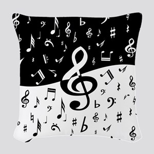 Stylish random musical notes Woven Throw Pillow