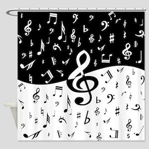 Stylish random musical notes Shower Curtain
