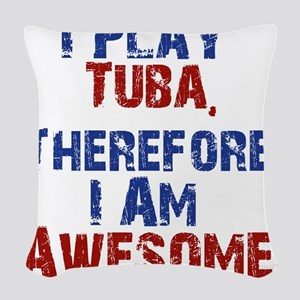 I Play Tuba Woven Throw Pillow
