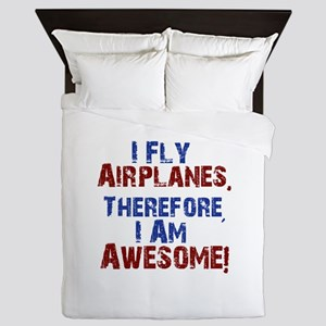 I fly airplanes Queen Duvet