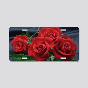 Red roses Aluminum License Plate