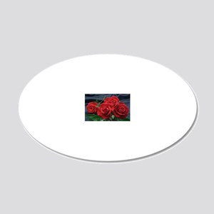 Red roses 20x12 Oval Wall Decal