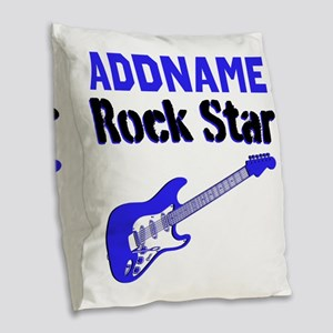 LOVE ROCK N ROLL Burlap Throw Pillow