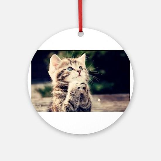 Praying Kitty Ornament (Round)