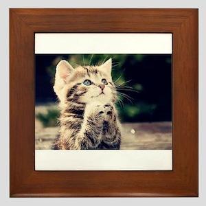 Praying Kitty Framed Tile