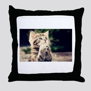 Praying Kitty Throw Pillow
