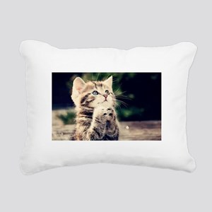 Praying Kitty Rectangular Canvas Pillow