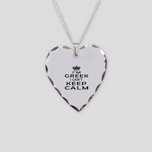 I Am Greek I Can Not Keep Calm Necklace Heart Char