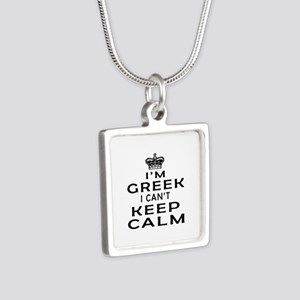 I Am Greek I Can Not Keep Calm Silver Square Neckl