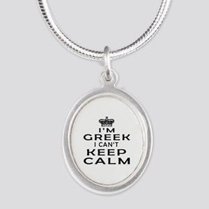 I Am Greek I Can Not Keep Calm Silver Oval Necklac