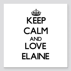 "Keep Calm and Love Elaine Square Car Magnet 3"" x 3"