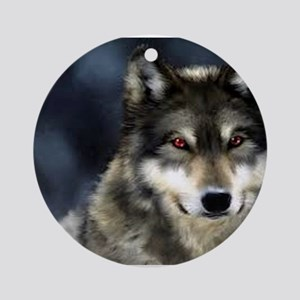 Wolf with Red Eyes Ornament (Round)