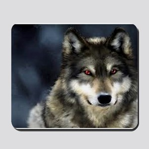 Wolf with Red Eyes Mousepad