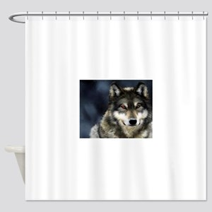 Wolf with Red Eyes Shower Curtain