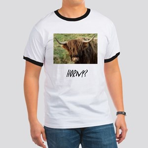 Horny Highland Cow Ringer T