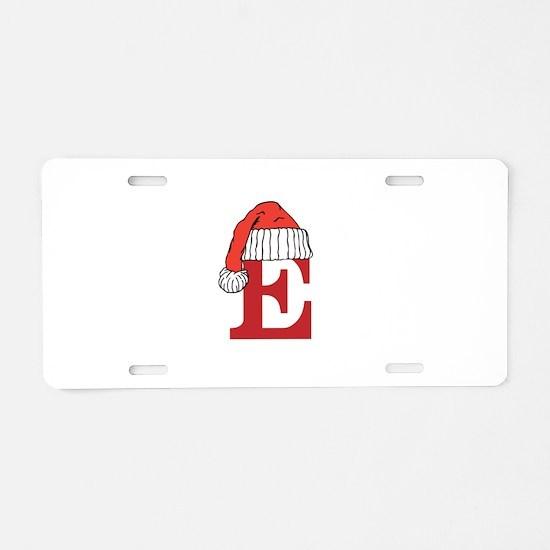 Letter E Christmas Monogram Aluminum License Plate