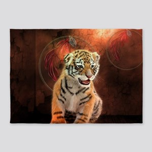 Cute little tiger baby 5'x7'Area Rug