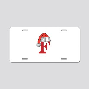 Letter F Christmas Monogram Aluminum License Plate
