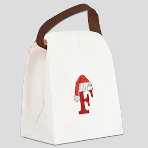 Letter F Christmas Monogram Canvas Lunch Bag