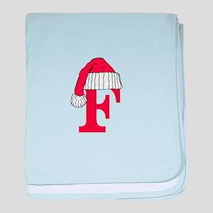 Letter F Christmas Monogram baby blanket