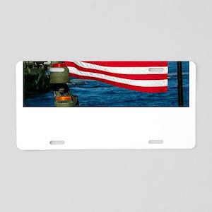 USA Flag on Riverine Boat Aluminum License Plate
