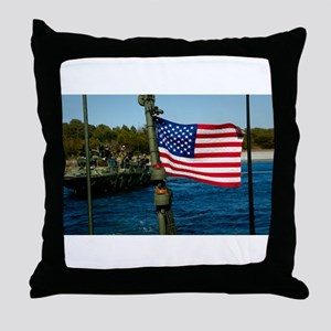 USA Flag on Riverine Boat Throw Pillow