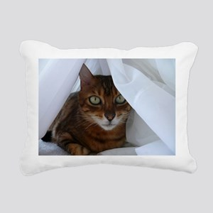 Bengal in White Rectangular Canvas Pillow