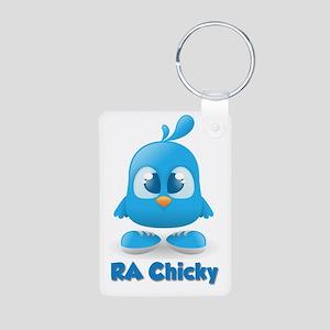RA Chicks Cute Blue Chicky Aluminum Photo Keychain