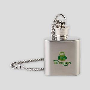 Happy St. Patrick's Day Owl Flask Necklace