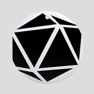 icosahedron black Round Ornament