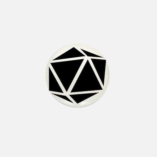 icosahedron black Mini Button
