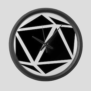 icosahedron black Large Wall Clock