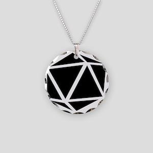 icosahedron black Necklace Circle Charm