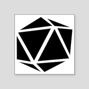 "icosahedron black Square Sticker 3"" x 3"""