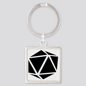 icosahedron black Square Keychain