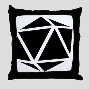 icosahedron black Throw Pillow