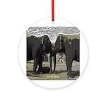 Elephant Eyes Woodcut Ornament (Round)